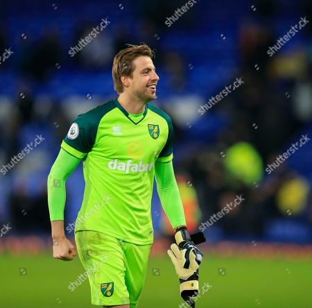 23rd November 2019, Goodison Park, Liverpool, England; Premier League, Everton v Norwich City : Tim Krul (1) of Norwich City celebrates his teams 0-2 victory at the end of the game Credit: Conor Molloy/News Images