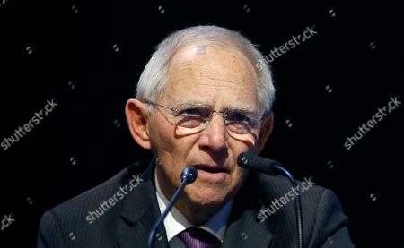 Stock Photo of German Bundestag President Wolfgang Schauble speaks during the European Peoples Party (EPP) congress in Zagreb, Croatia, . Tusk was in Zagreb, the Croatian capital, for a meeting of the European People's Party, the main center-right bloc in the European Parliament