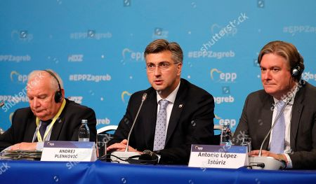 Stock Photo of (L-R) President of the European People's Party (EPP) Joseph Daul, Croatian Prime Minister Andrej Plenkovic, and EPP Secretary General Antonio Lopez-Isturiz White attend an opening congress press conference during The European People's Party (EPP) Congress in Zagreb, Croatia, 20 November 2019. The EPP party congress takes place from 20 to 21 November 2019.