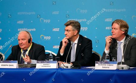 (L-R) President of the European People's Party (EPP) Joseph Daul, Croatian Prime Minister Andrej Plenkovic, and EPP Secretary General Antonio Lopez-Isturiz White attend an opening congress press conference during The European People's Party (EPP) Congress in Zagreb, Croatia, 20 November 2019. The EPP party congress takes place from 20 to 21 November 2019.