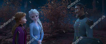 Stock Photo of Anna (Kristen Bell), Elsa (Idina Menzel) and Mattias (Sterling K. Brown)