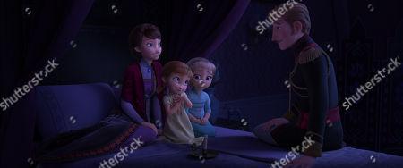 Iduna (Evan Rachel Wood), Young Anna (Hadley Gannaway), Young Elsa (Mattea Conforti) and Agnarr (Alfred Molina)