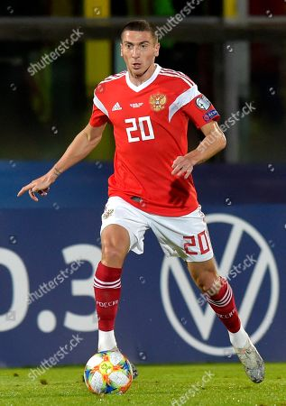 Russia's Aleksei Miranchuk in actions during the Euro 2020 group I qualifying soccer match between San Marino and Russia, in San Marino