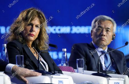 Chairman of the Board of Eni oil and gas company Emma Marcegaglia (L) and President of Silk Road Fund Wang Yanzhi (R) attend an annual VTB Capital 'Russia Calling!' Investment Forum in Moscow, Russia, 20 November 2019. The 11th annual VTB Capital 'Russia Calling!' Investment Forum takes place on 20-22 November 2019.