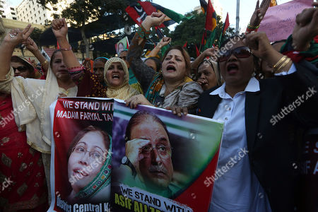 Stock Image of Supporters of the Pakistan People's party protest against the government, demanding the release of their leader Asif Ali Zardari and his sister Faryal Talpur, in Karachi, Pakistan, . A Pakistani court has handed over Zardari and his sister Faryal Talpur to a national anti-graft body for questions regarding a multi-million dollar money laundering case