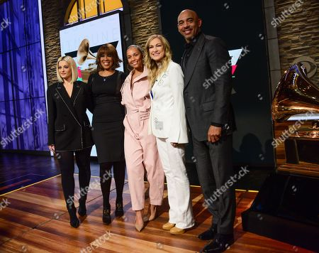 Bebe Rexha, Gayle King, Alicia Keys, Reborah Dugan, President and CEO of the Recording Academy and Harvey Mason Jr.., Chair of the Board of Trustees of the Recording Academy