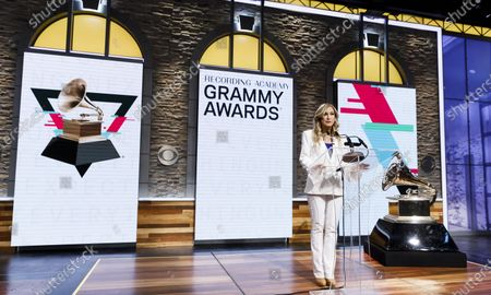 Deborah Dugan, the President and CEO of the Recording Academy, speaks during the announcment of the nominees for the 62nd Grammy Awards in New York, New York, USA, 20 November 2019. Winners will be named at the 62nd Grammy Awards ceremony on 26 January 2020, which will be hosted by US musician Alicia Keys.