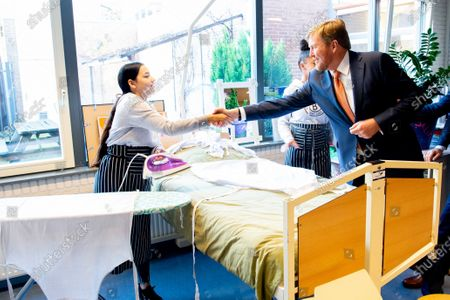 Stock Photo of King Willem-Alexander during a working visit to CVO Accent Practical Education