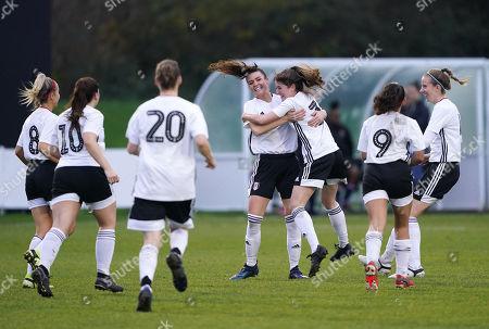 Ellen Thomas of Fulham FC women celebrates scoring the third goal with Tessa Allen