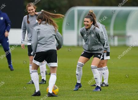 Fulham FC Women during the warm up,Ellen Thomas warming up.