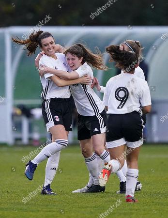 Fulham FC Women's Ellen Thomas celebrates scoring the third goal with Tessa Allen, making the score 3,2.