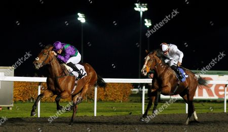 EASTERN SHERIFF (James Doyle) beats HURRICANE ALEX (right) in The 100% Profit Boost At 32redsport.com Novice Median Auction Stakes Kempton