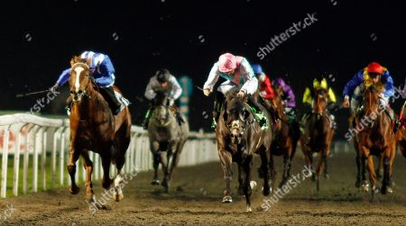 SET PIECE (right, James Doyle) beats KHUZAAM (left) in The British Stallion Studs EBF Hyde Stakes Kempton