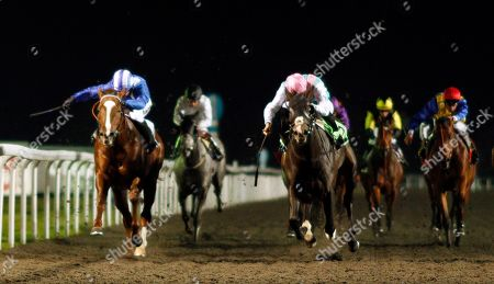 SET PIECE (right, James Doyle) beats KHUZAAAM (left) in The British Stallion Studs EBF Hyde Stakes Kempton