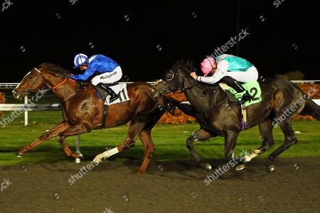 SET PIECE (near) ridden by James Doyle catches Khuzaam in The British Stallion Studs EBF Hyde Stakes (Listed) at Kempton Park Copyright: Ian Headington/racingfotos.com
