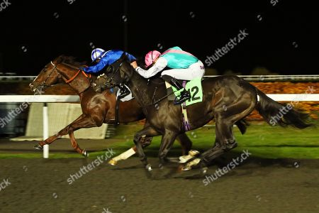 Stock Picture of SET PIECE (near) ridden by James Doyle catches Khuzaam in The British Stallion Studs EBF Hyde Stakes (Listed) at Kempton Park Copyright: Ian Headington/racingfotos.com