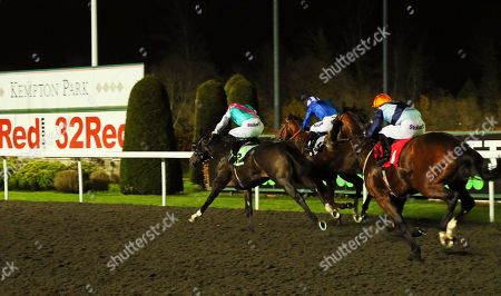 Stock Image of SET PIECE (near) ridden by James Doyle catches Khuzaam in The British Stallion Studs EBF Hyde Stakes (Listed) at Kempton Park Copyright: Ian Headington/racingfotos.com