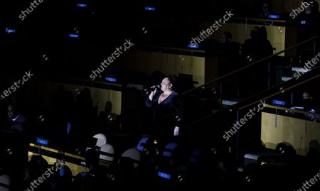 Singer Keala Settle (C) performs during an event marking the thirtieth anniversary of the adoption of the Convention on the Rights of the Child on annual World Children's Day in General Assembly hall at United Nations headquarters in New York, New York, USA, 20 November 2019.