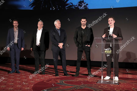 Stock Picture of Christian Huband, Louis Morin, Todd Lieberman, David Hoberman and Tom Harper on stage during Amazon Studios Aeronauts Los Angeles AFI Premiere during AFI FEST 2019 at TCL Chinese Theatre on in Hollywood, California