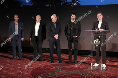 Stock Photo of Christian Huband, Louis Morin, Todd Lieberman, David Hoberman and Tom Harper on stage during Amazon Studios Aeronauts Los Angeles AFI Premiere during AFI FEST 2019 at TCL Chinese Theatre on in Hollywood, California