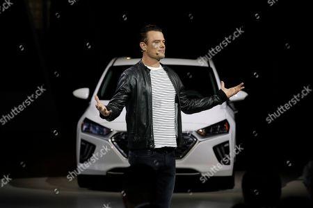 Actor Josh Duhamel presents the Hyundai Ioniq electric car at the Automobility LA Auto Show, in Los Angeles
