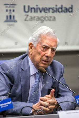 Stock Photo of Peruvian writer and Nobel Prize in Literature winner Mario Vargas Llosa presents the cultural cycle 'Trajectories' at the University of Zaragoza, in Aragon, Spain, 20 November 2019.