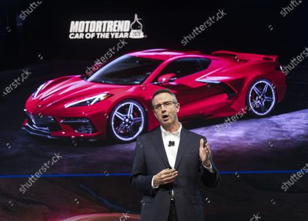 Stock Photo of Paul Edwards, US vice president of Chevrolet marketing, speaks during the AutoMobility LA auto show at the Los Angeles Convention Center in Los Angeles, California, USA, 20 November 2019. The show will run from 22 November to 01 December 2019.
