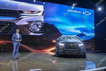 Paul Edwards, US vice president of Chevrolet marketing, speaks during the AutoMobility LA auto show at the Los Angeles Convention Center in Los Angeles, California, USA, 20 November 2019. The show will run from 22 November to 01 December 2019.