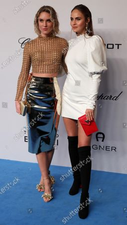 German models Kim Hnizdo (L) and Elena Carriere (R) attend the event 'A Tribute to Bambi' in Baden Baden, Germany, 20 November 2019. The charity event benefits children and youngsters in need of help.
