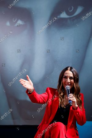 Monica Naranjo attends a press conference in Mexico City, Mexico 20 November 2019, to present her 'Renaissance' tour.