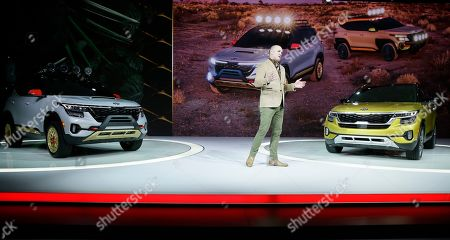 Michael Cole, president of Kia Motors America Inc., speaks after unveiling the All-New 2021 Kia Seltos X-Line concept sport utility vehicle at the AutoMobility LA Auto Show in Los Angeles