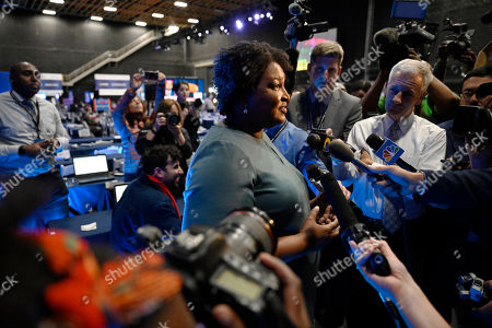 Former Democratic candidate for Georgia Governor, Stacey Abrams speaks during an interview ahead of a Democratic presidential primary debate, in Atlanta
