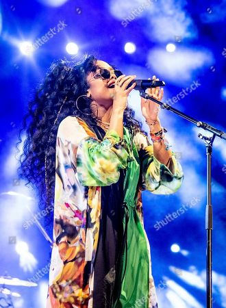 """H.E.R., Gabriella """"Gabi"""" Wilson. H.E.R. performing at the Coachella Music & Arts Festival in Indio, Calif. H.E.R., who scored five nominations at last year's Grammys, including a bid for best new artist, returns this year with five more nominations"""
