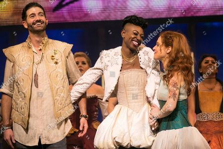 Oliver Tompsett (Shakespeare), Miriam-Teak Lee (Juliet) and Cassidy Janson (Anne)