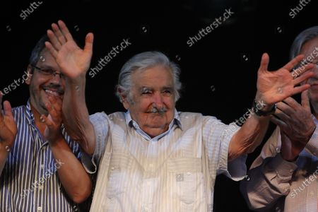Former President of Uruguay Jose Mujica greets supporters of the Frente Amplio party at the closing event of Daniel Martinez' campaign, during the second round of the Uruguayan election, in Florida, Uruguay, 20 November 2019.