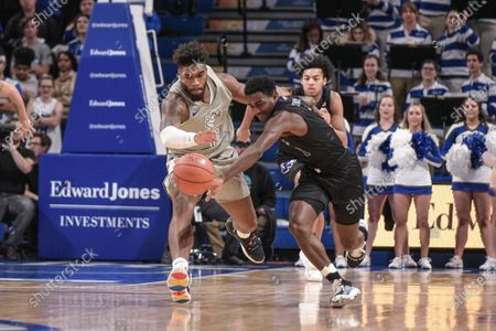 High Point Panthers guard John-Michael Wright (1) and Saint Louis Billikens forward Hasahn French (11) battle for the ball during a regular season game where the High Point Panthers visited the St. Louis Billikens. Held at Chaifetz Arena in St. Louis, MO Richard Ulreich/CSM