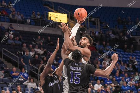 Saint Louis Billikens forward Hasahn French (11) goes up against the defense of High Point Panthers guard John-Michael Wright (1) and High Point Panthers forward Cliff Thomas Jr. (15) during a regular season game where the High Point Panthers visited the St. Louis Billikens. Held at Chaifetz Arena in St. Louis, MO Richard Ulreich/CSM