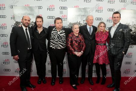 Stock Picture of Ian Gomez, Sam Rockwell, Paul Walter Hauser, Kathy Bates, Clint Eastwood, Director/Producer, Blair Rich, President, Worldwide Marketing, Warner Bros. Pictures Group and Warner Bros. Home Entertainment, Jon Hamm