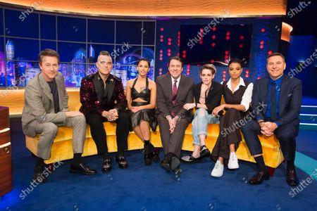 Edward Norton, Robbie Williams, Naomi Scott, Jonathan Ross, Kristen Stewart, Ella Balinska, David Walliams