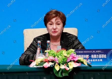 International Monetary Fund (IMF) Managing Director Kristalina Georgieva attends a press conference at the Fourth 1+6 Round Table Dialogue at Diaoyutai State Guest House in Beijing, China, 21 November 2019. Chinese Prime Minister Li Keqiang and leading officials from major international financial organizations attended the event for discussions on global economic trends, macro policies coordination and China's economic reform and global economic governance.