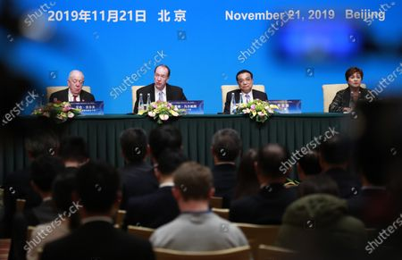 (L-R) World Trade Organization (WTO) Deputy Director-General Alan Wolff, World Bank President David Malpass, Chinese Premier Li Keqiang and International Monetary Fund (IMF) Managing Director Kristalina Georgieva attend a press conference at the Fourth 1+6 Round Table Dialogue at Diaoyutai State Guest House in Beijing, China, 21 November 2019. Chinese Prime Minister Li Keqiang and leading officials from major international financial organizations attended the event for discussions on global economic trends, macro policies coordination and China's economic reform and global economic governance.