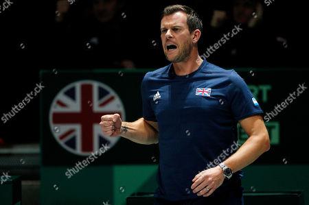 Captain Leon Smith cheers on Dan Evans of Great Britain versus Kazakhstan