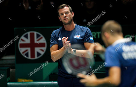 Captain Leon Smith applauds Dan Evans of Great Britain in action versus Kazakhstan