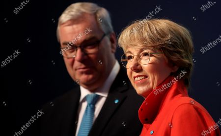 Stock Photo of ThyssenKrupp CFO Johannes Dietsch and ThyssenKrupp CEO Martina Merz attend the company's balance press conference in Essen, Germany, 21 November 2019. The ThyssenKrupp industrial group will cancel its dividend after another year of losses. The company announces that its net loss increased from 62 million euros to 304 million euros in the past fiscal year 2018/19.