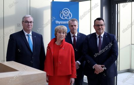 (L-R) ThyssenKrupp CFO Johannes Dietsch, ThyssenKrupp CEO Martina Merz, board member of ThyssenKrupp Klaus Keysberg and board member of ThyssenKrupp Oliver Burkhard attend the company's balance press conference in Essen, Germany, 21 November 2019. The ThyssenKrupp industrial group will cancel its dividend after another year of losses. The company announces that its net loss increased from 62 million euros to 304 million euros in the past fiscal year 2018/19.