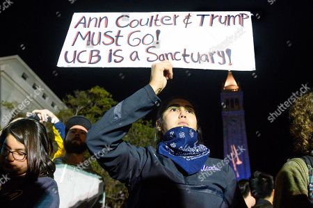Editorial photo of Coulter Protest, Berkeley, USA - 20 Nov 2019