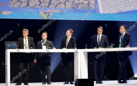 Stock Picture of (L-R) German scientist Stefan Rahmstorf, Croatian scientist Fran Postenjak, Christian Kremer is Deputy Secretary General of the European People's Party (EPP) Christian Kremer, Greek Prime Minister Kyriakos Mitsotakis, and Irish Prime Minister An Taoiseach Leo Vardakar discuss about climate changes at the European People's Party (EPP) Congress in Zagreb, 21 November 2019. The EPP party congress takes place from 20 to 21 November 2019.