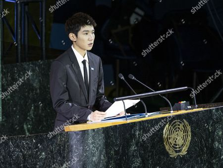 Stock Picture of UNICEF China Goodwill Ambassador Roy Wang speech at high-level meeting on 30th anniversary of adoption of Convention on Rights of the Child at UN Headquarters
