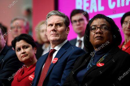 Shami Chakrabarti, Keir Starmer and Diane Abbott at the launch of the 2019 Labour manifesto.