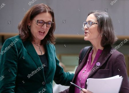 European Commissioner for Trade Cecilia Malmstrom (L) and Spanish Minister of Industry, Trade and Tourism Maria Reyes Maroto Illera (R) during a Foreign Affairs Council on Trade in Brussels, Belgium, 21 November 2019. The Council meeting's agenda is topped by discussions on the World Trade Organization (WTO) reform status, recent developments in the EU-US trade relations, and international trade in general.